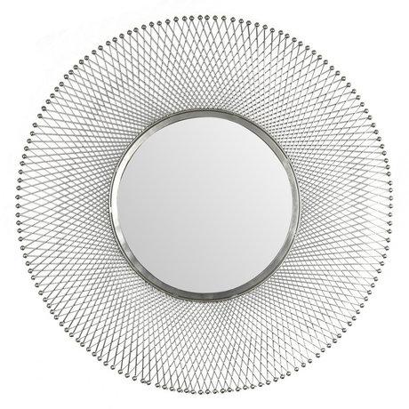 wonenmetlef Spiegel Jara antiek zilver glas ijzer Ø80cm