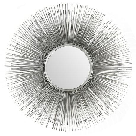 wonenmetlef Spiegel Sonny antiek zilver glas ijzer Ø80cm