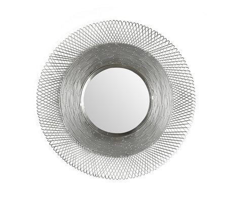 wonenmetlef Spiegel Lana antiek nikkel glas ijzer Ø65cm