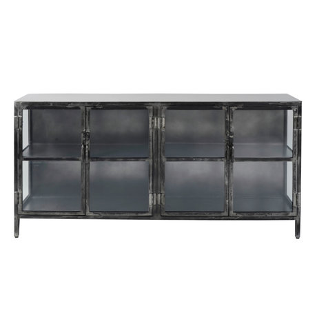 wonenmetlef Commode Bobbie en métal noir 180x40x92cm