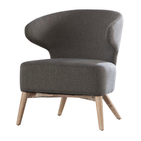 wonenmetlef Armchair Valentine gray natural brown textile wood 62x64.5x73cm