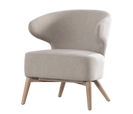 wonenmetlef Armchair Valentine clay gray natural brown textile wood 62x64.5x73cm