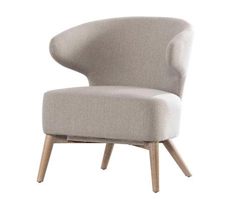 wonenmetlef Fauteuil Valentine argile gris bois naturel marron textile bois 62x64.5x73cm