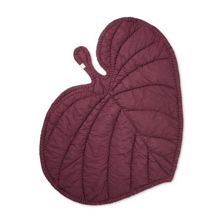 NOFRED Blanket Leaf burgundy red organic cotton 110x125cm