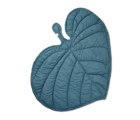 NOFRED Blanket Leaf petroleum blue organic cotton 110x125cm