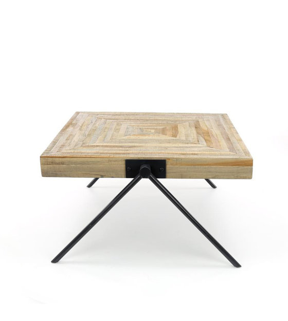 Peachy Wonenmetlef Coffee Table Sue Brown Gray Teak Steel 80X80X43Cm Pabps2019 Chair Design Images Pabps2019Com