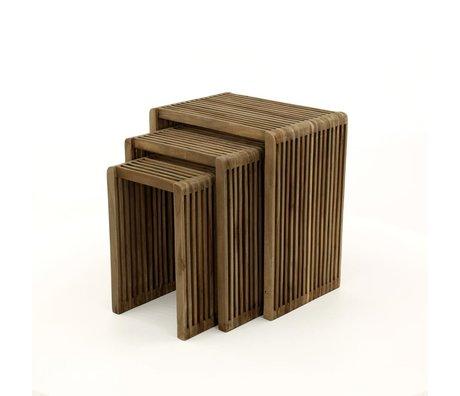 wonenmetlef Table d'appoint en bois brun Vince, ensemble de 3
