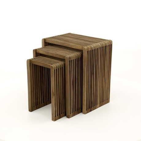 wonenmetlef Side table Vince brown wood set of 3