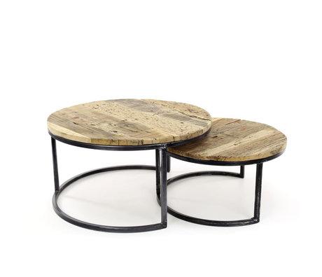 wonenmetlef Coffee table Bo robust brown black wood metal set of 2