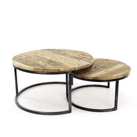 wonenmetlef Salontafel Bo robuust bruin zwart hout metaal set van 2