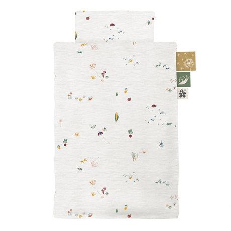 Sebra Housse de couette Garden gris bébé coton 100x70xm