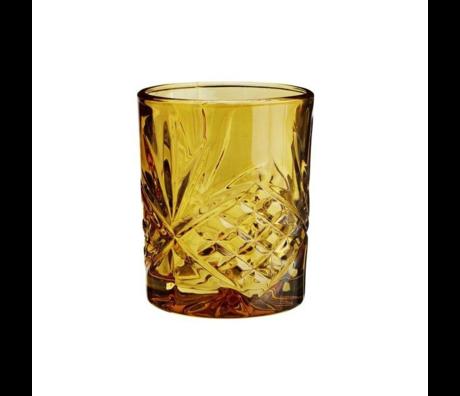Madam Stoltz Limonadeglas amber geel glas ∅8x10cm