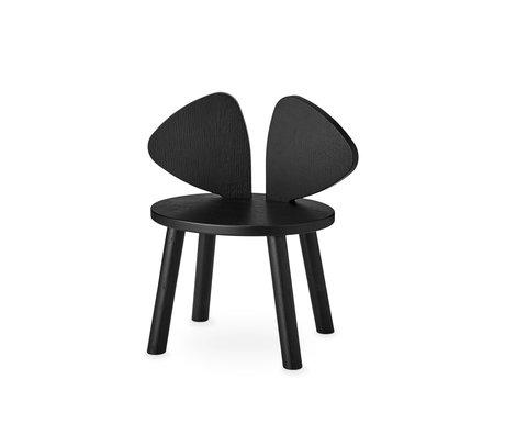 NOFRED chaise bébé bambou souris noir bois 42.5x28x46.4 cm