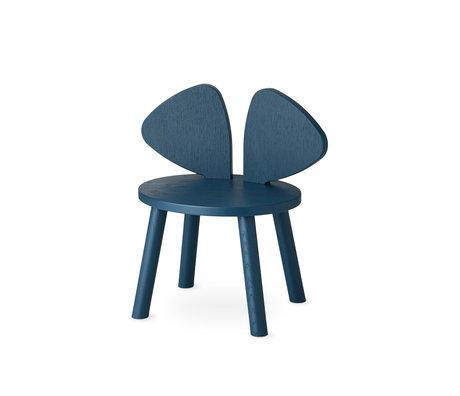 NOFRED chaise bébé bambou souris petrole bleu bois 42.5x28x46.4 cm