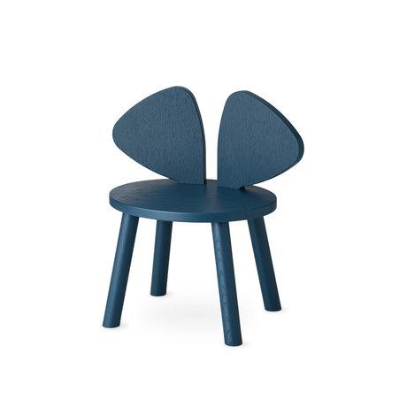 NOFRED peuterstoel mouse petroleum blauw hout 42,5x28x46,4cm