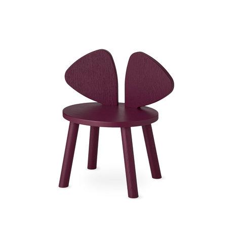 NOFRED chaise bébé souris bordeaux bois rouge 42.5x28x46.4 cm