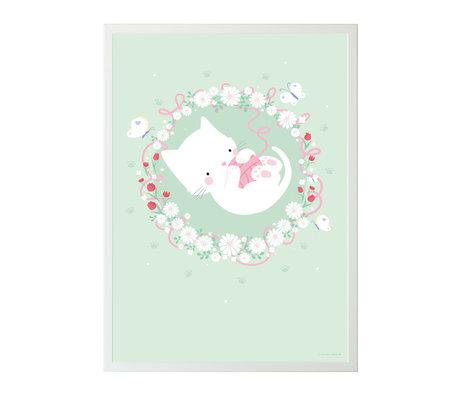 A Little Lovely Company Poster chat papier vert menthe 50x70cm