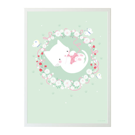 A Little Lovely Company Poster cat mint green paper 50x70cm