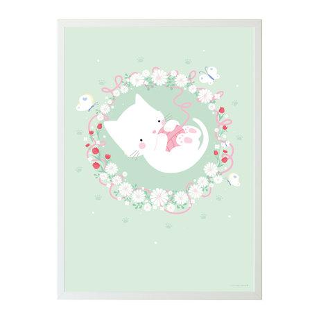 A Little Lovely Company Poster kat mint groen papier 50x70cm