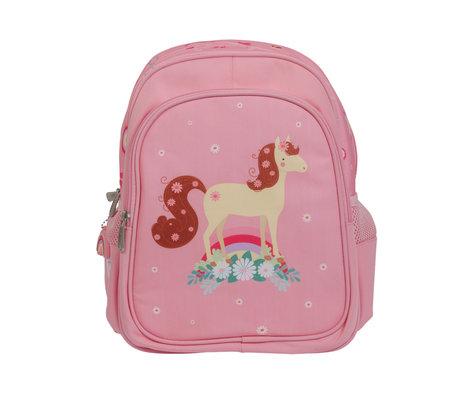 A Little Lovely Company Rugzak Paard roze polyester 27x32x15cm