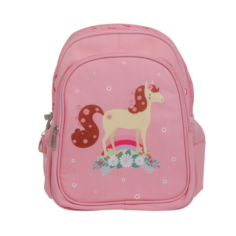 A Little Lovely Company Sac à dos Cheval rose en polyester 27x32x15cm