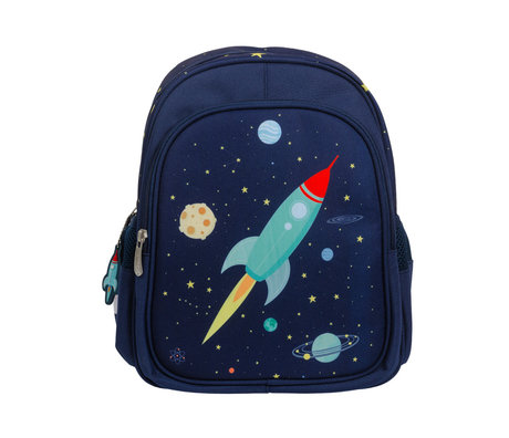 A Little Lovely Company Backpack Space blue polyester 27x32x15cm