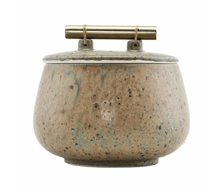 Housedoctor Storage box with lid Diva green earthenware Ø14x12cm damage