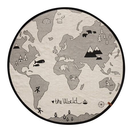 OYOY Rug the world black and white cotton Ø135cm