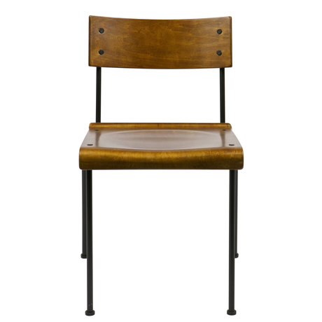 vtwonen Stoel Teach bruin hout metaal 49x48,5x101,5cm