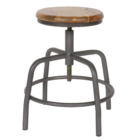 vtwonen Stool Spider gray metal wood Ø32x48-60cm