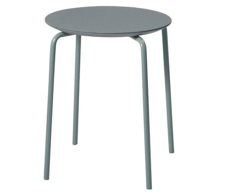 Ferm Living Hocker Herman staubiges blaues Holz Metall 35,5x43x30,5cm