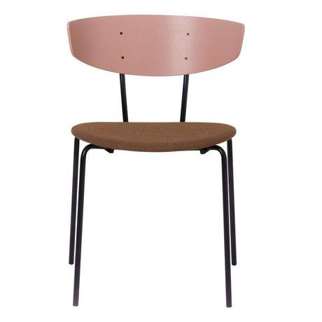 Ferm Living Eetkamerstoel Herman gestoffeerd roze hout metaal textiel 50x74x47cm