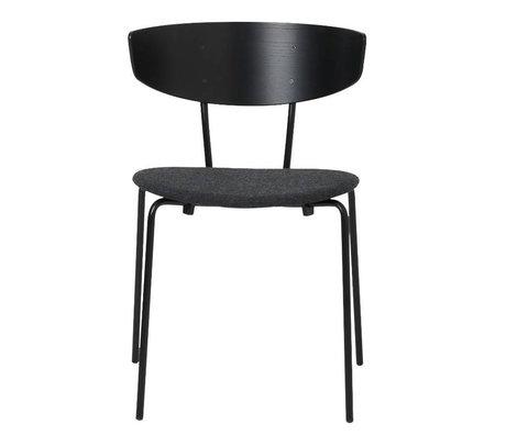 Ferm Living Chaise de salle à manger Herman tapissée en bois noir en métal textile 50x74x47cm