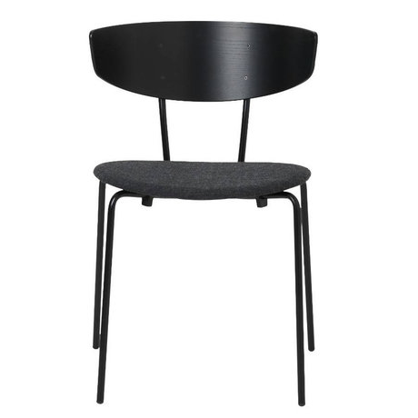 Ferm Living Dining chair Herman upholstered black wood metal textile 50x74x47cm