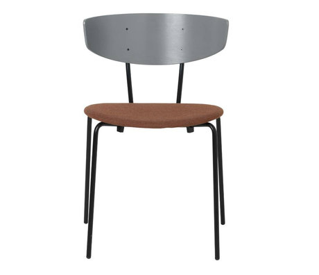 Ferm Living Dining chair Herman upholstered gray wood metal textile 50x74x47cm
