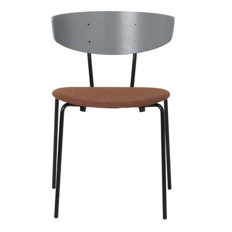 Ferm Living Chaise de salle à manger Herman rembourrée gris bois métal textile 50x74x47cm