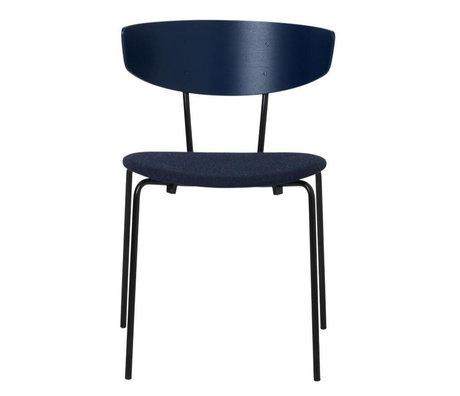 Ferm Living Chaise de salle à manger Herman rembourrée bleu foncé bois métal textile 50x74x47cm