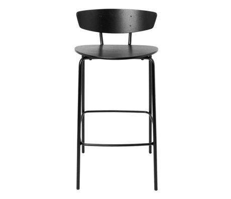Ferm Living Tabouret de bar Herman Low en bois noir métal 39,5x39,5x83,5cm