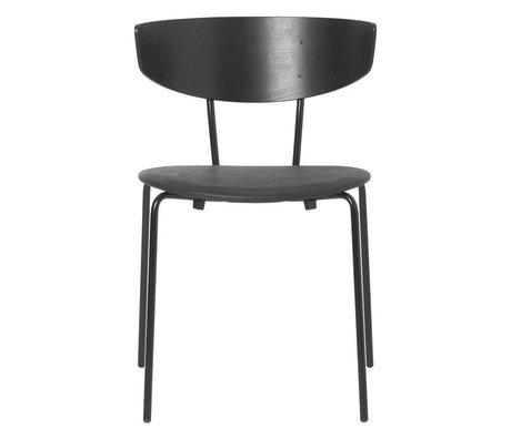 Ferm Living Dining chair Herman black leather wood metal 50x47x74cm