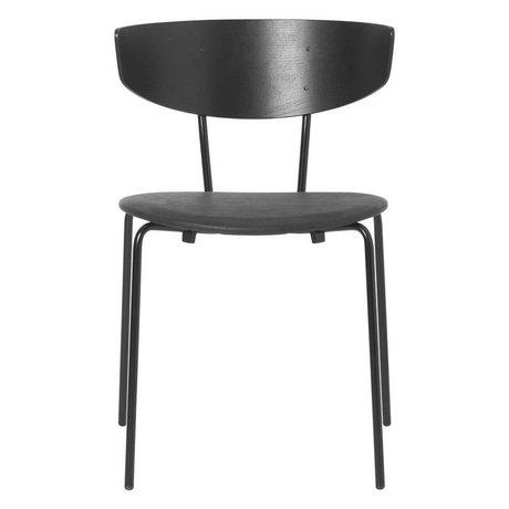 Ferm Living Chaise de salle à manger Herman cuir noir bois métal 50x47x74cm