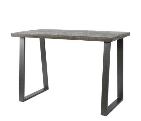 wonenmetlef Table de bar Jace loam brun noir bois acier 135x70x92cm