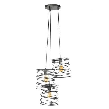 wonenmetlef Memphis hanging lamp 3-light charcoal gray metal Ø40x150cm