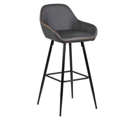 wonenmetlef Bar stool Bob gray orange PU leather metal 52.5x53x101.5cm