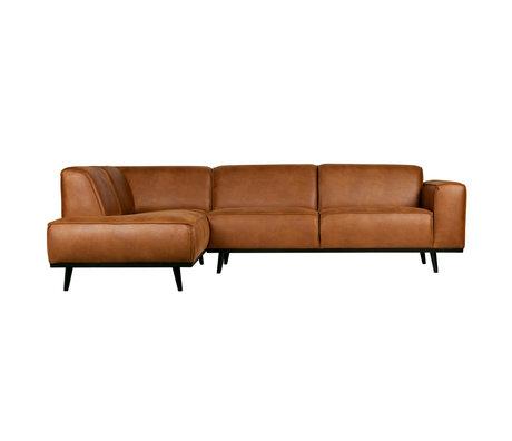 BePureHome canapé d'angle déclaration à gauche cuir éco marron cognac 74x210x77cm