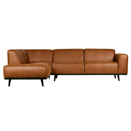 BePureHome hoekbank statement links cognac bruin eco leer 74x210x77cm