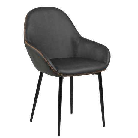 wonenmetlef Dining room chair Bob gray orange PU leather metal 60x57.5x85cm
