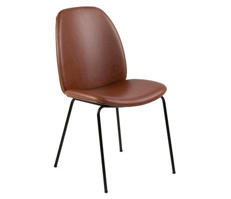 wonenmetlef Eetkamerstoel Charlie vintage bruin zwart PU leder metaal 48,5x63x87,5cm