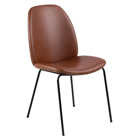 wonenmetlef Dining room chair Charlie vintage brown black PU leather metal 48.5x63x87.5cm