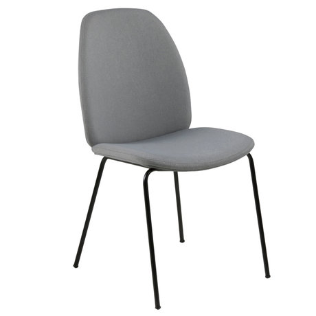 wonenmetlef Dining room chair Charlie light gray 13 Town textile metal 48.5x63x87.5cm