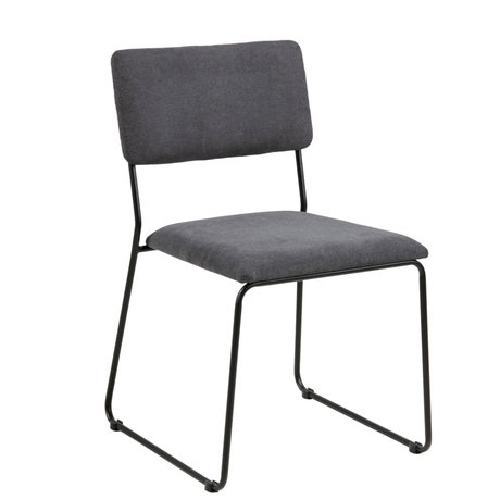 wonenmetlef Dining room chair Jill anthracite gray 96 Malmo textile metal 50x53.5x80cm